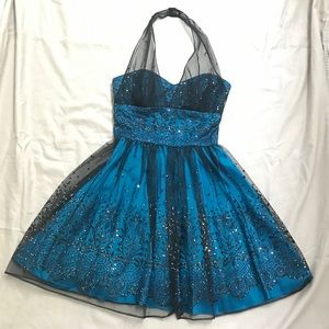 Zum Zum by Niki Livas Blue Black Homecoming Dress